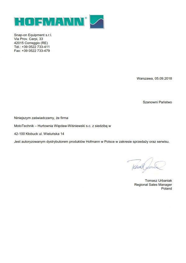 MotoTechnik Pismo Autoryzacyjne HOFMANN 001 600x849